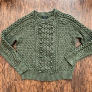 jcrew wool blend cable knit green sweater - size M